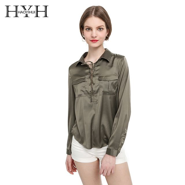 HYH HAOYIHUI Brand New Summer Fashion Ladies Office Shirts Lace Top Long Sleeve Designer Tops Army Green Formal Shirts
