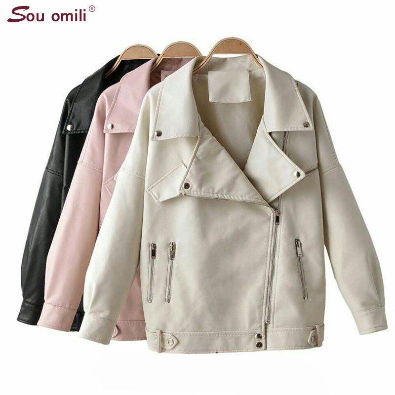 Ovesized Leather Jacket Women Faux Leather Jackets Pu Moto Black Blazer Zippers Loose Coat Double Zipper veste femme