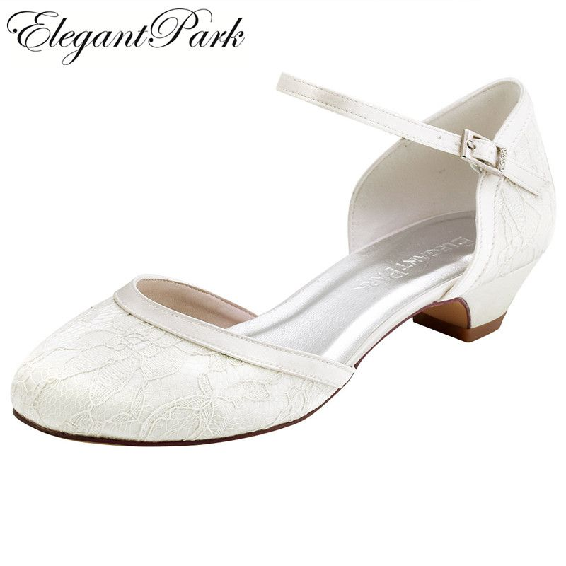 White Ivory Bridal Wedding Shoes For Bride Closed Toe Block Heel Shoes Lace Comfort Mid Heel Pumps Woman Ladies Buckle HC1620