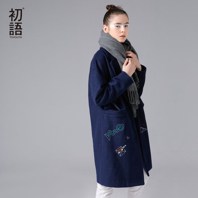 Toyouth 2017 New Arrival Women Winter Long Coat Funny Cartoon Embroidery Turn-down Collar Woolen Coat Female Cotton Coat