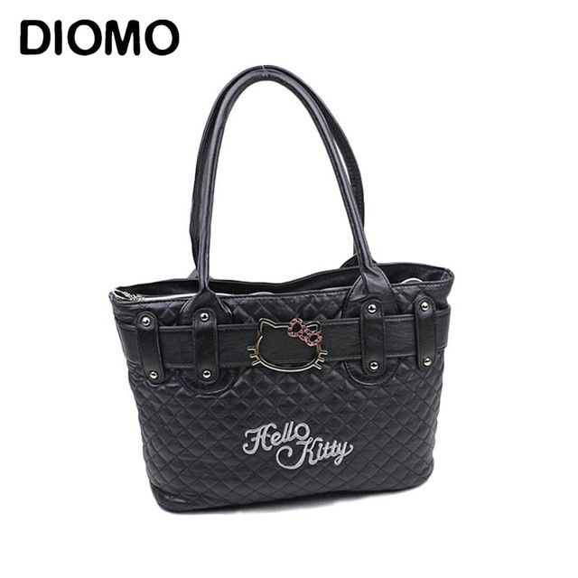 DIOMO hello kitty bag women's handbag cartoon tote bags quilted diamond lattice bags sac femme