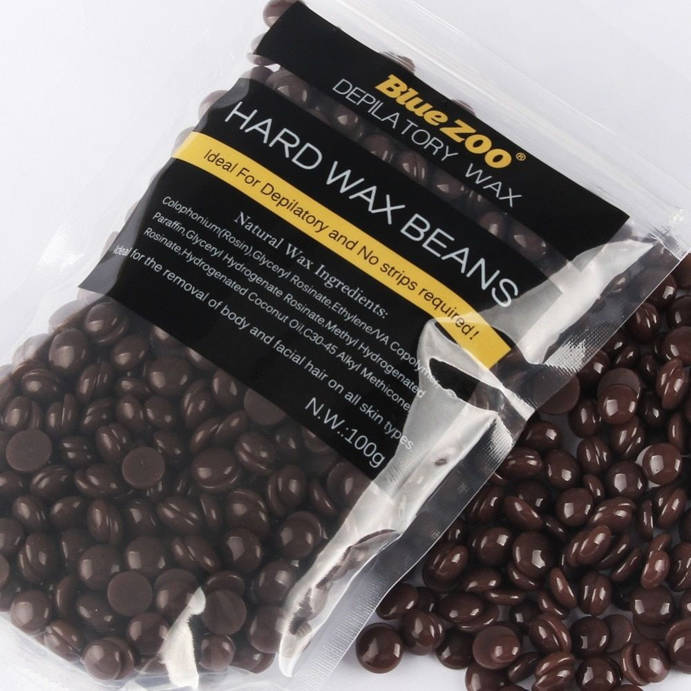 Chocolate Depilatory Hot Film Hard Wax beans Pellet Waxing Bikini Hair Removal wax 100g for Men/Women Body Hair Epilation