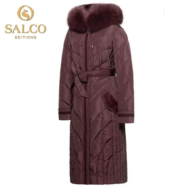SALCO  Free shipping new European and American fashion fox collar Nagymaros yards Ms. Long Hooded Down