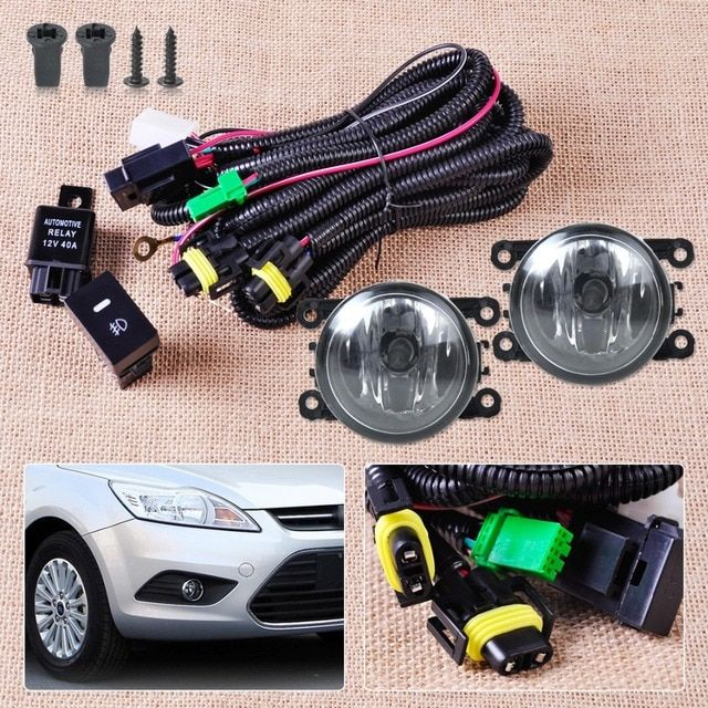 CITALL Wiring Harness Sockets + Switch + 2 H11 Fog Lights Lamp 4F9Z-15200-AA for Ford Focus Mustang Honda CR-V Acura TSX Nissan