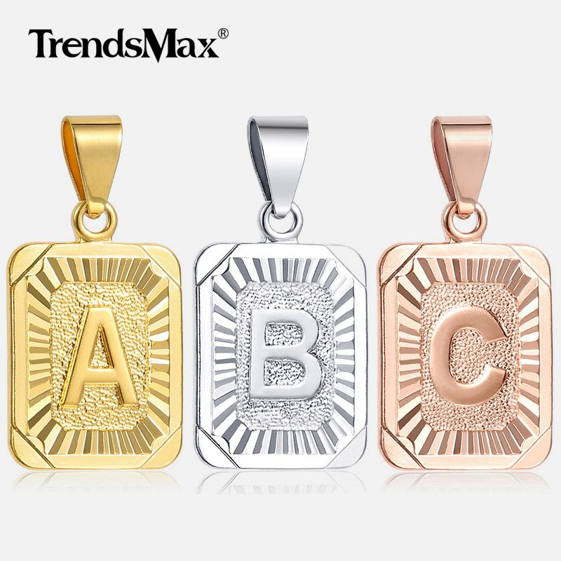 Trendsmax Initial letter Pendant Necklace a b c Charm Gold Silver Capital Letter necklace for Women girl Alphabet Jewelry GPM05A
