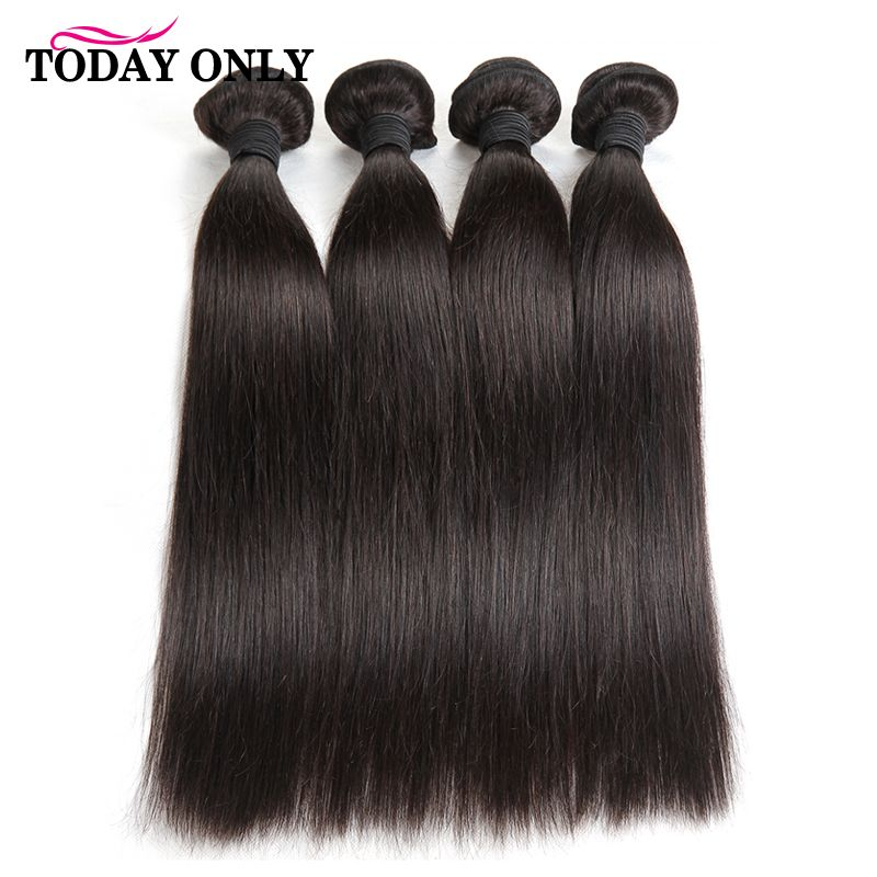 TODAY ONLY 4 Bundles Brazilian Straight Hair Bundles Brazilian Hair Weave Bundles Remy Human Hair Bundles 100g Extensions 8-26''