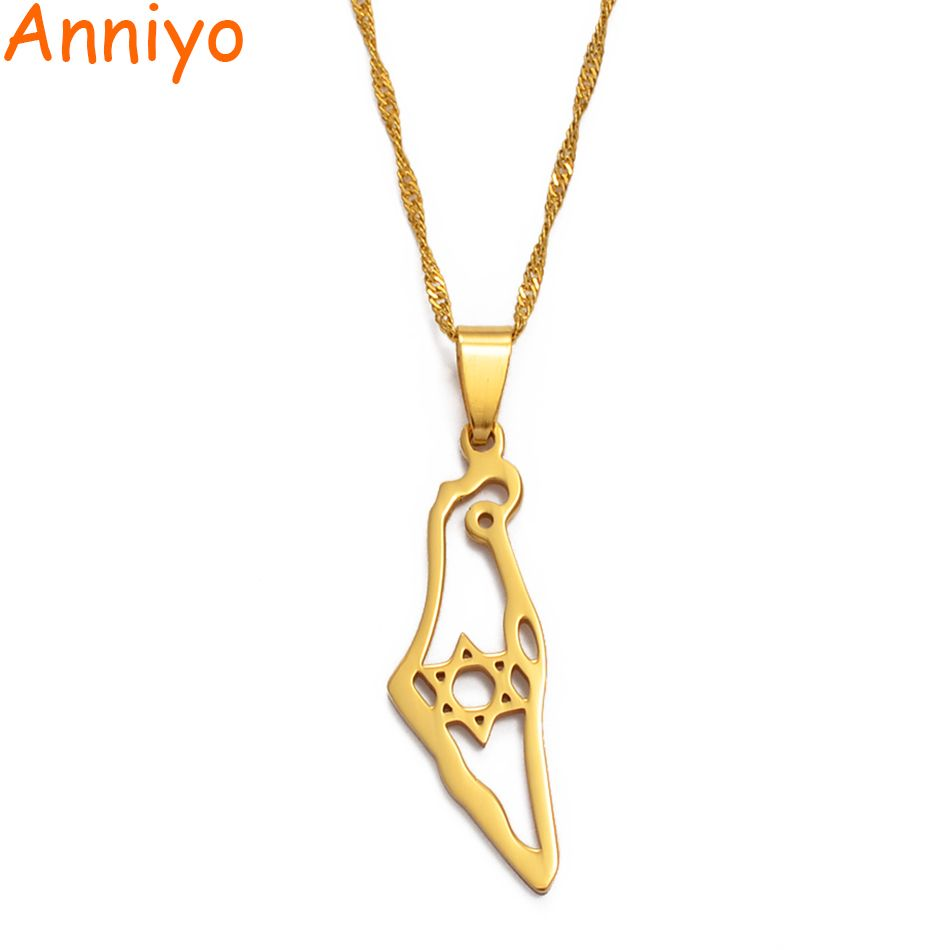 Anniyo Israel Map Pendant Necklace Gold Color Jewish Jewelry Map of Israel Necklaces Magen David Hexagram/Star of David #004221@