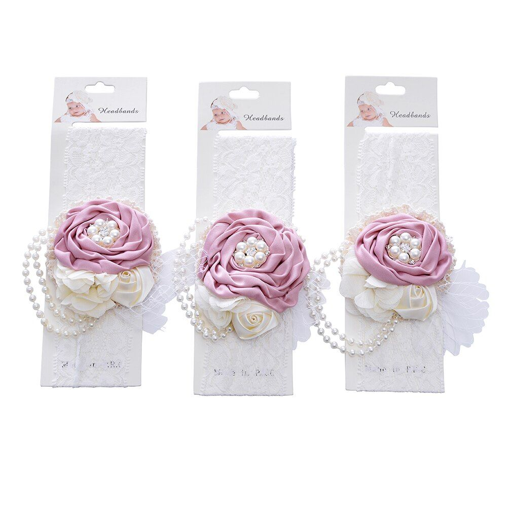 QueenBaby  Baby Girl Headband Satin Chiffon Flower Matching Pearl Rhinestone Headband Women Hair Accessories Lace Headwear