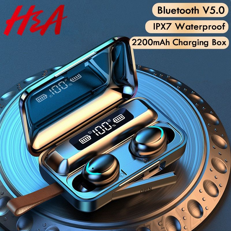 H&A Bluetooth V5.0 Earphones Wireless Headphones With Microphone Sports Waterproof Headsets 2200mAh Charging Box For iOS Android