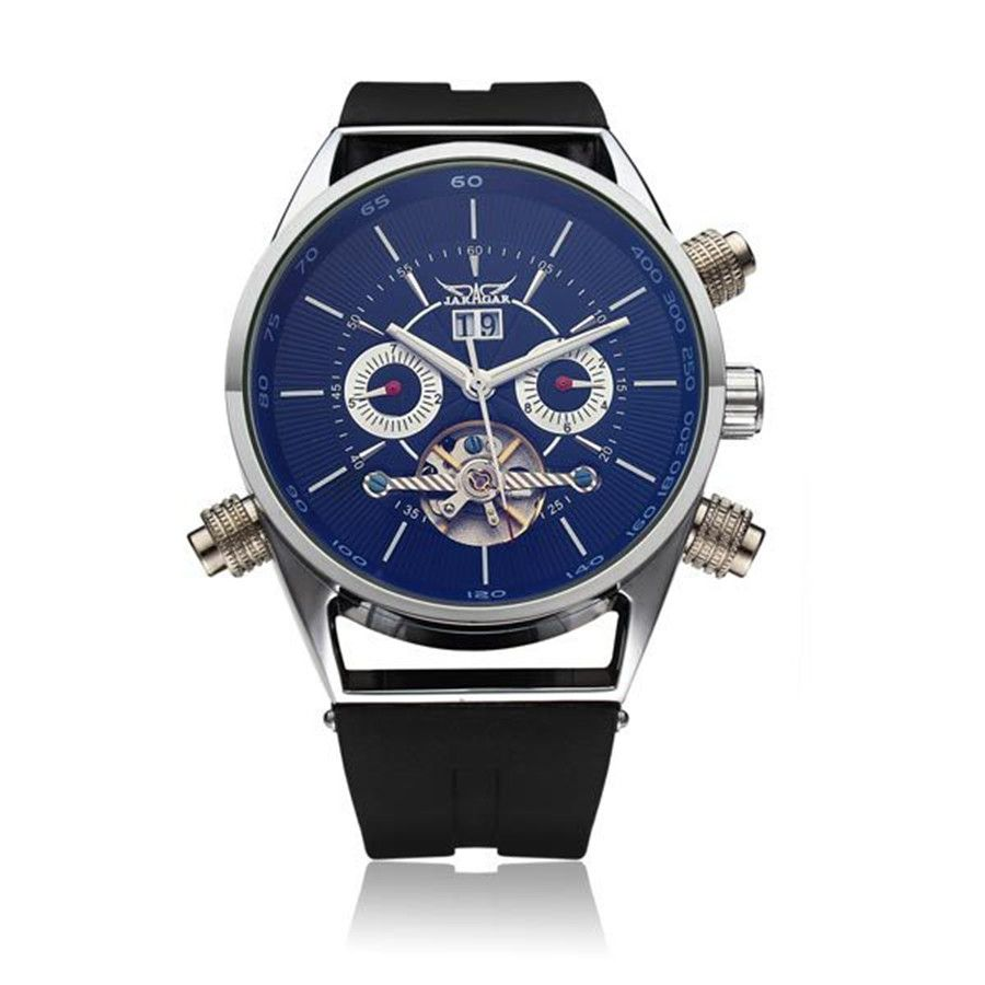 JARAGAR Brand Mechanical Silicone Commercial Casual  Fashion Wrist Watch Flywheel Tourbillion Automatic Watch Relogio Releges