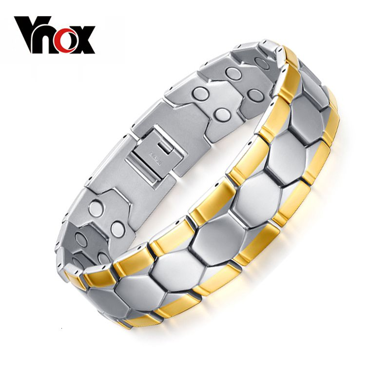 Vnox Health Care Bracelets Bangles Sport Football Design Men's Jewelry Magnet Germanium free Gift Box