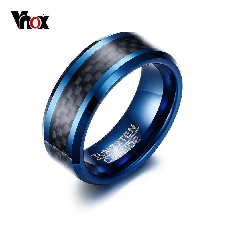 Vnox Blue Tungsten Rings for Men Wedding Bands 8mm Men's Carbon Fiber Tungsten Carbide Men Ring Jewelry