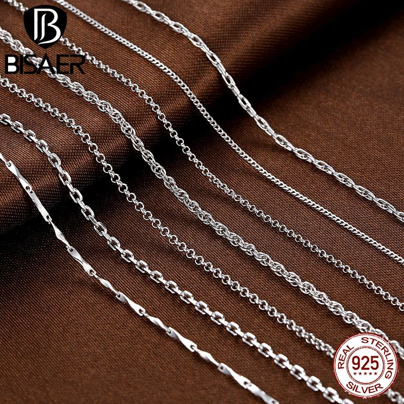 Silver Chain Necklace 925 Sterling Silver Lobster Clasp Long Necklaces for Women Fashion Necklace Chain Set Jewelry collares
