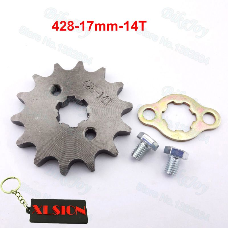 428 14 T Tooth 17mm ID Front Engine Sprocket for 50cc 110cc Sunl Kazuma Dirt Pit Bike ATV Quad Go Kart Buggy Scooter Motorcycle
