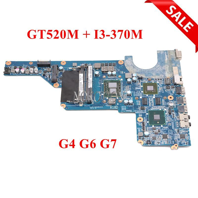 NOKOTION 655985-001 Laptop mainboard For HP Pavilion G4 G6 G7 HM55 DDR3+Core i3-370M GT520M DAR18DMB6D1 REV D Mainboard