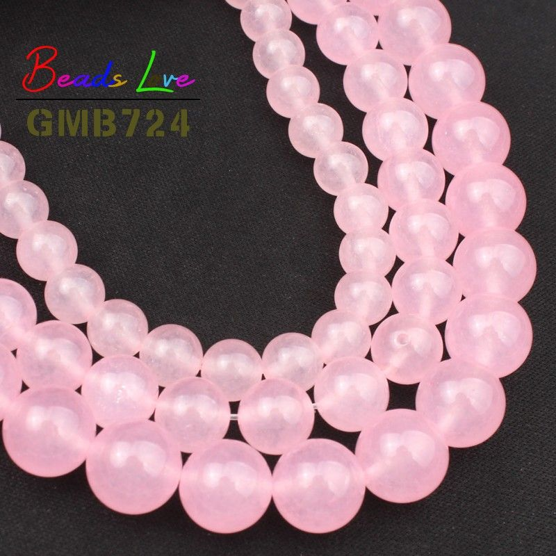 Hot Sale 4,6,8,10,12mm Pink Jades Chalcedony Round Loose Stone Beads for Jewelry Making Diy Bracelet Necklace Wholesale 15 Inch