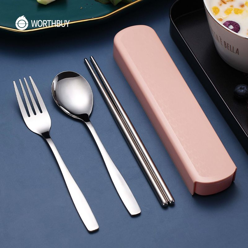 WORTHBUY Portable Travel Tableware Set Stainless Steel Dinnerware With Box Kitchen Fork Spoon Dinner Set For Kid School Cutlery