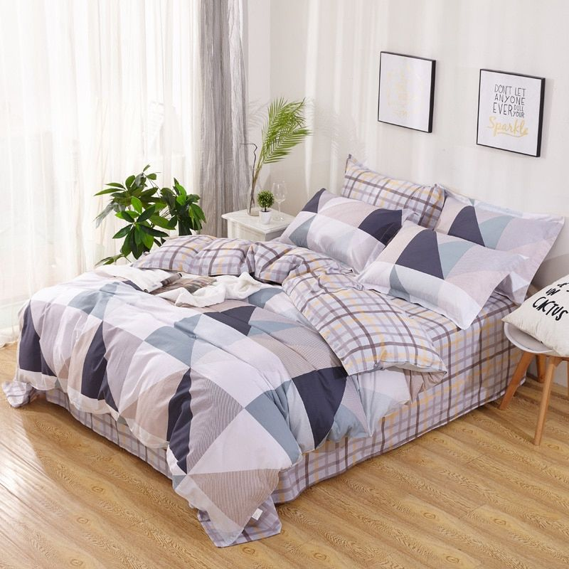 New Modern Simple Geometry Pattern Bedding Set Bed Linen 100% High Quality Cotton Duvet Cover Set Be Sheet Pillowcase Queen Size