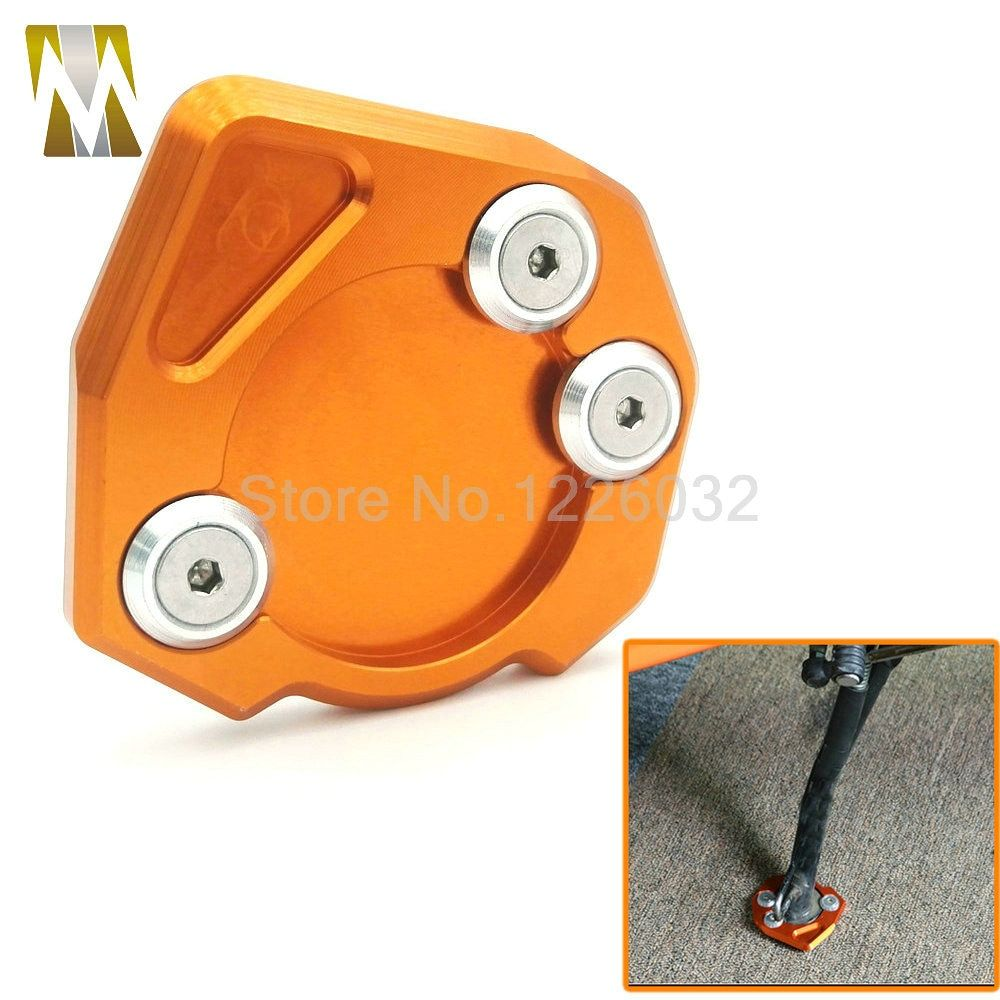 High Quality Motorcycle Kickstand Side Stand Extension Enlarger Support Pad Puck Plate Orange For KTM DUKE 125/200/390