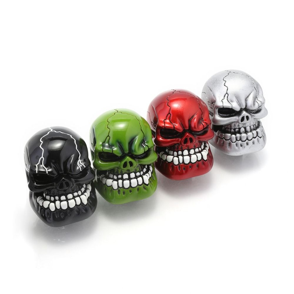 Universal Manual Gear Shift Knob Shifter Lever Wicked Carved Skull pomo marchas Black Green Red Silver D5