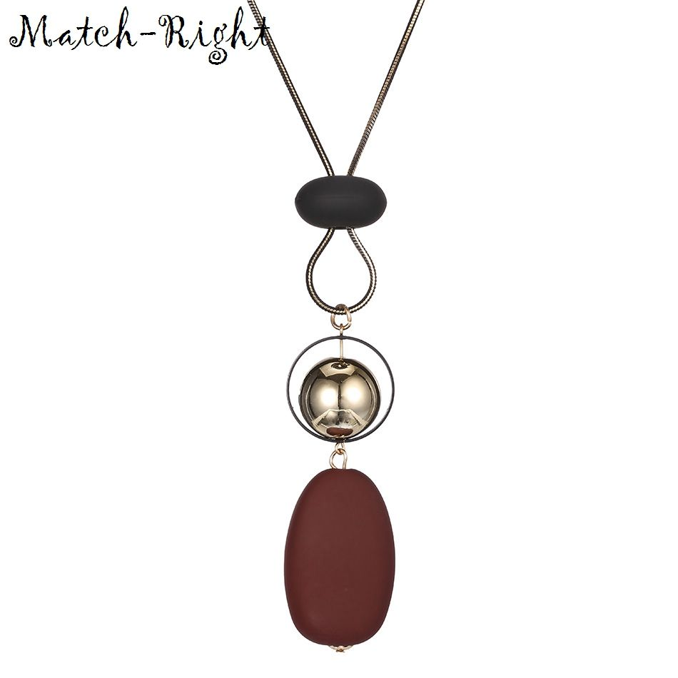 Match-Right Women Necklace Long Sweater Necklaces & Pendants Wood Beads Necklace For Women Jewelry YJZ-174