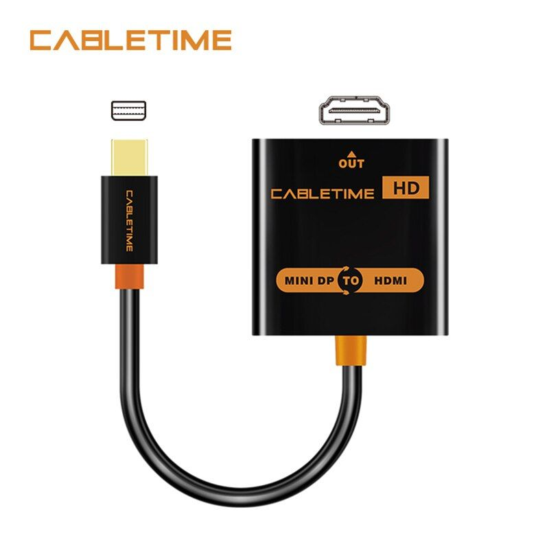 Cabletime Mini DP to HDMI Adapter M/F Thunderbolt Mini DisplayPort to HDMI Cable for MacBook Pro Air iMac 1080p projector N020