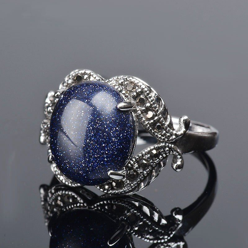 K's Gadgets Blue Sand Natural Stone Ring Oval Inlaid Zirconia Big Rings for Women Silver Color Natural Stone Ring anel vintage