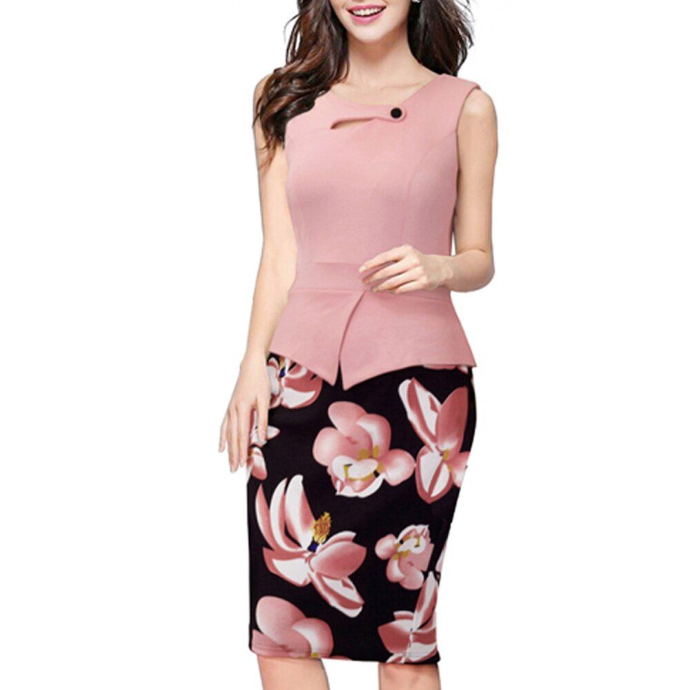 Summer Elegant Women Business Dress Pink Print Floral Tunic Bodycon Sheath Casual Pencil Dresses Plus Size B288
