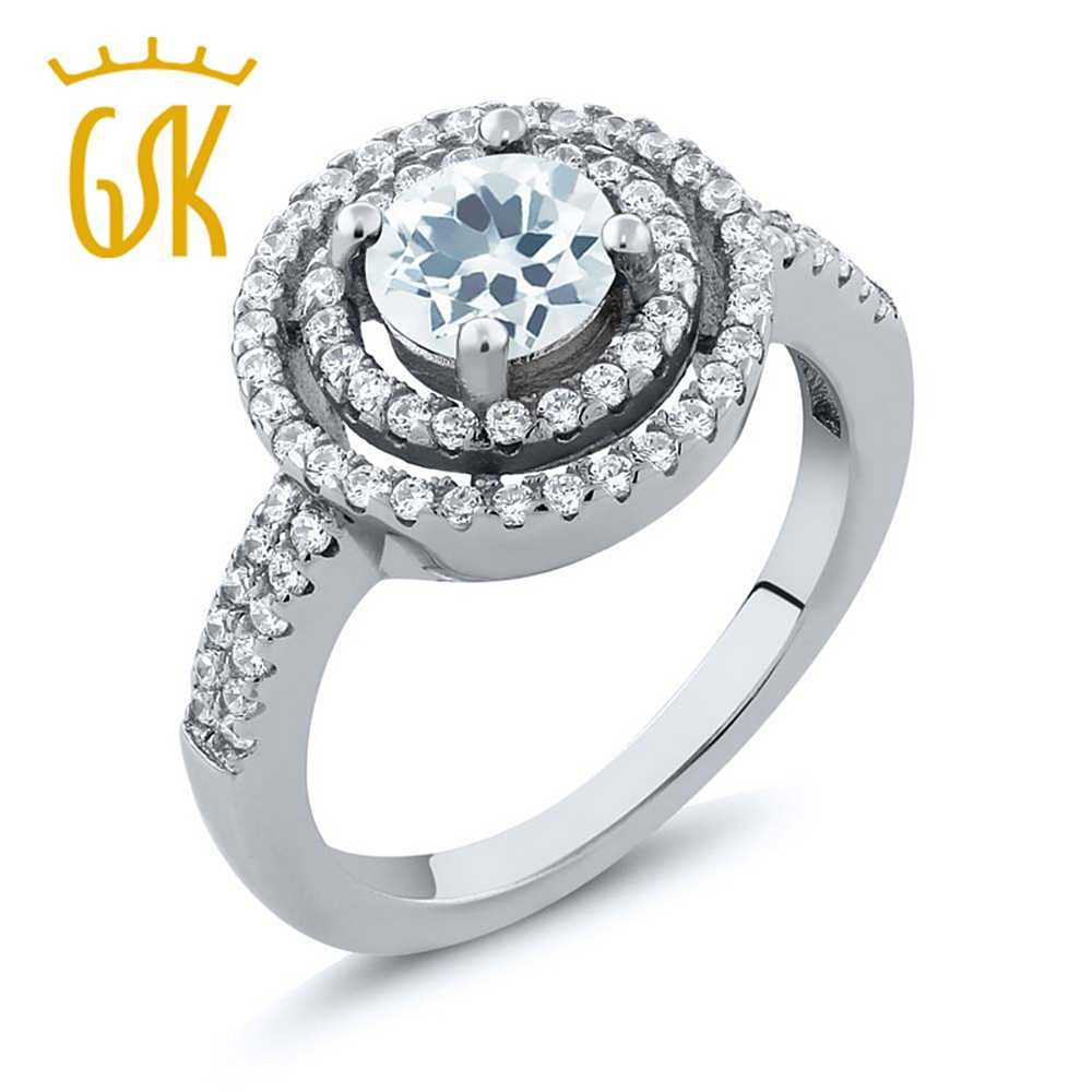 GemStoneKing 1.71 Ct Round Natural Sky Blue Aquamarine Ring Fine Jewelry 925 Sterling Silver Women's Halo Cocktail  Ring