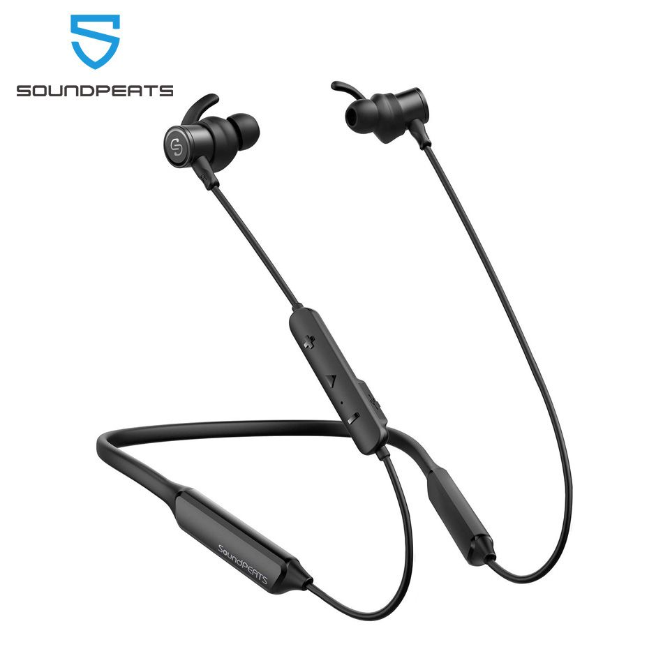 SoundPEATS Bluetooth Wireless Earphones Built-in Mic Stereo Bass in-Ear Magnetic Earbuds 35Hours Play time IPX6 Neckband Headset