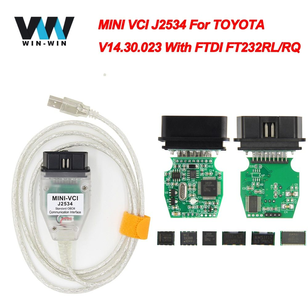 MINI VCI For TOYOTA TIS Techstream V14.30.023 minivci FTDI For J2534 OBD OBD2 Car Diagnostic Auto Scanner Tool MINI-VCI Cable