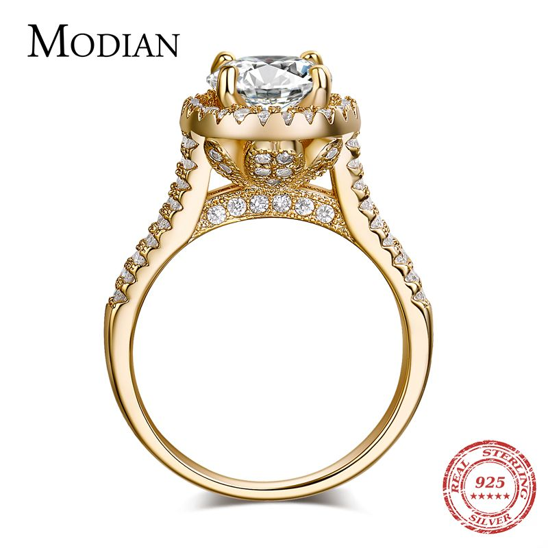 2018 new fasion jewelry real 925 sterling silver ring Gold Color Classic engagement wedding rings AAAAA Cubic zircon for women