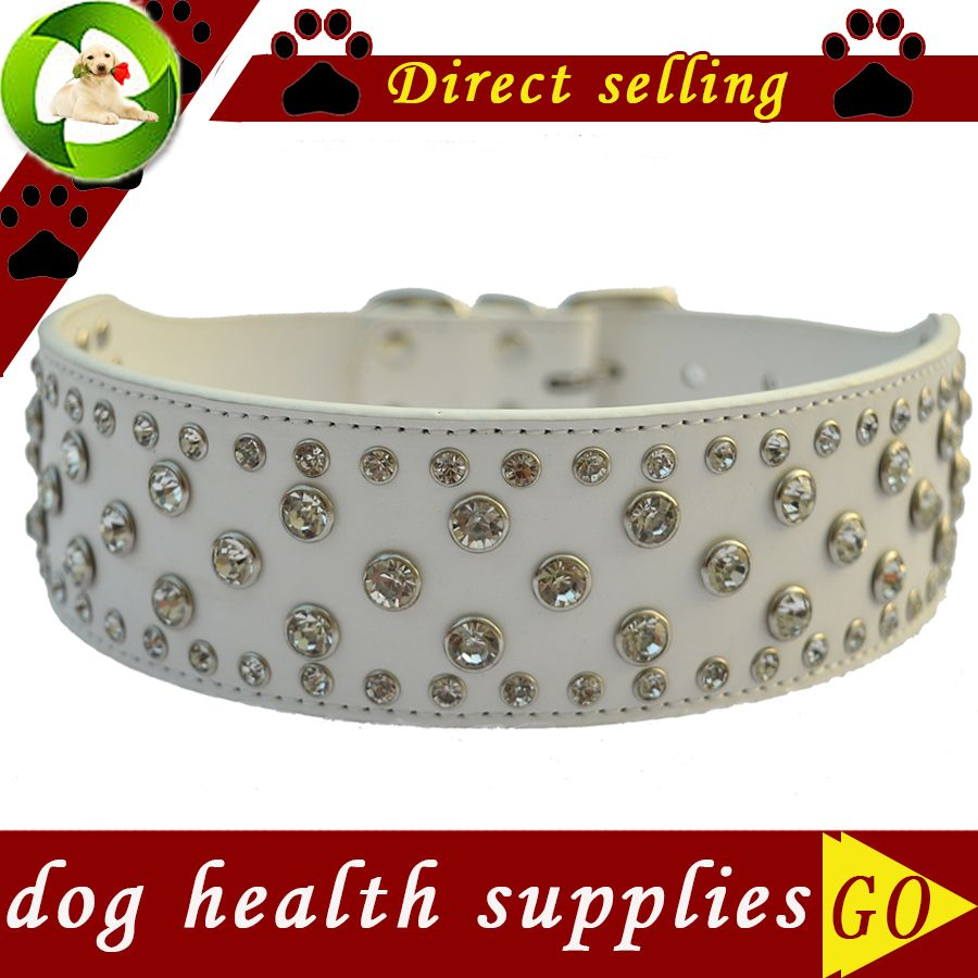 Rhinestone Dog Collar 2 Inch Wide Leather Collar For Big Dogs Adjustable Buckle Dog Necklace Pet Products For Animals Pink Red