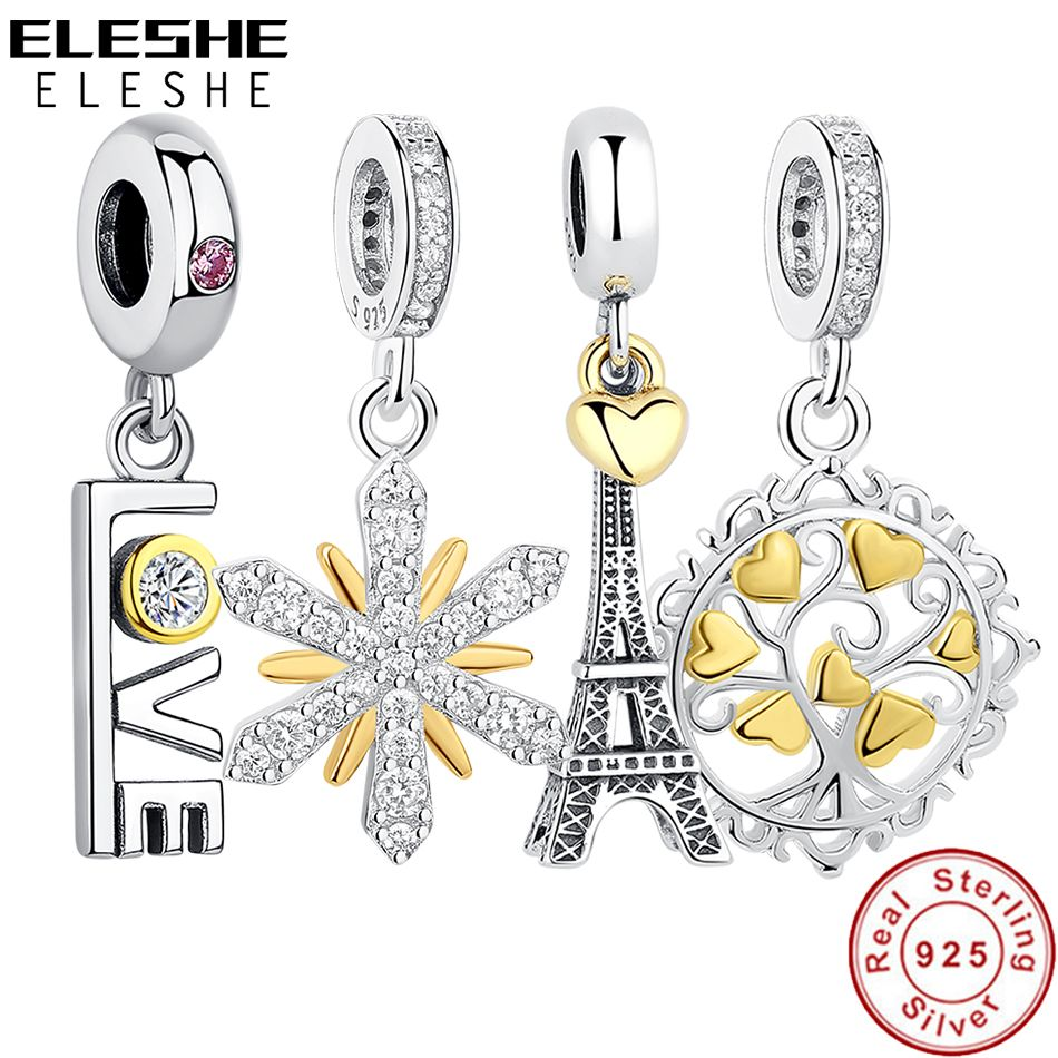 ELESHE 925 Sterling Silver EIFFEL TOWER PENDANT CHARM Gold Heart Bead fit Original Pandora Charm Bracelet Necklace DIY Jewelry