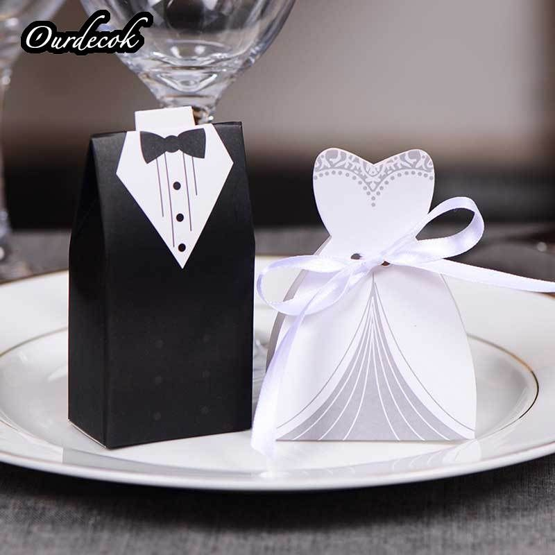 100pcs/lots Bride And Groom Wedding Candy Box Gift Favour Boxes Wedding Bonbonniere Event Party Supplies With Ribbon 8 Style
