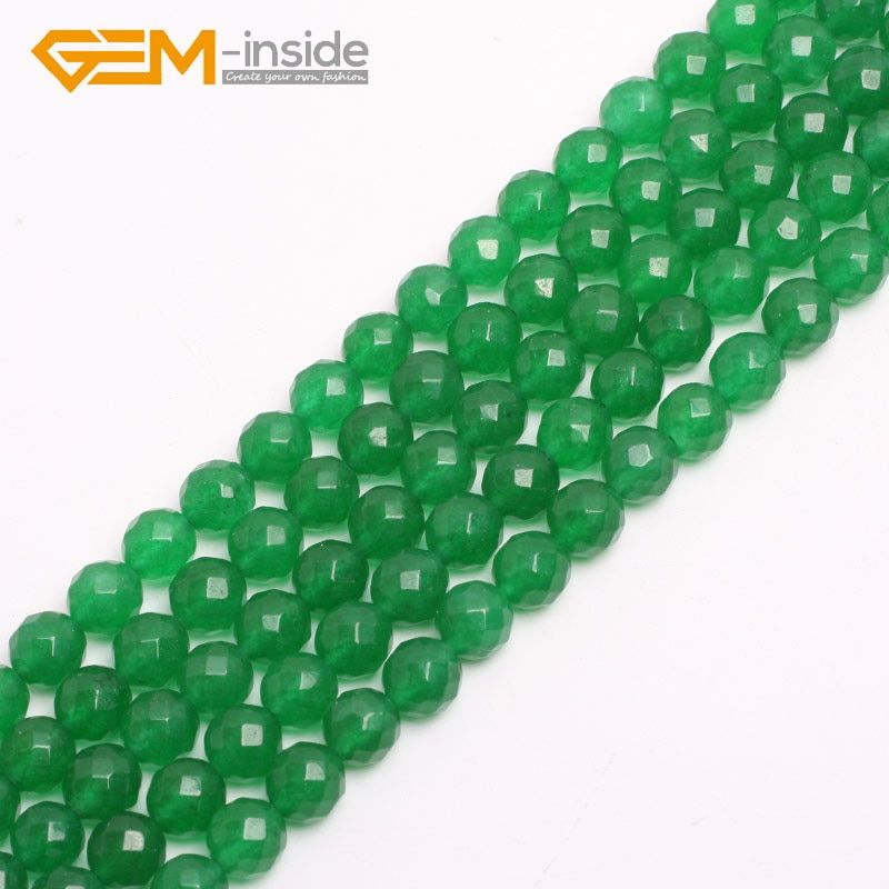 4-18mm Round Faceted Stone Beads Green Jades Beads For Jewelry Making strand 15 inch Gem stone bead for bracelet Necklace DIY