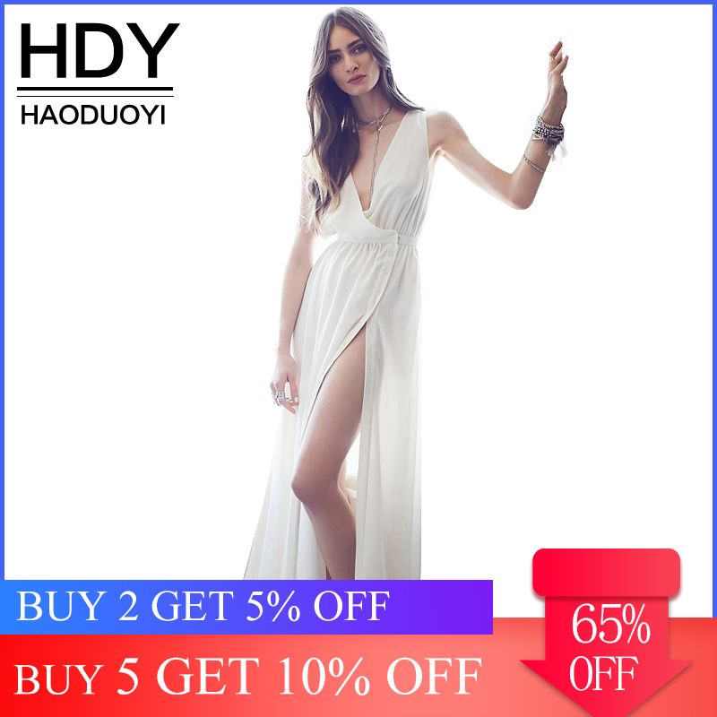 HDY Haoduoyi Deep V Neck Sleeveless Solid White Maxi Dress 2019 New Arrival Sexy Botton Side Slit High Waist Brief Party Dresses