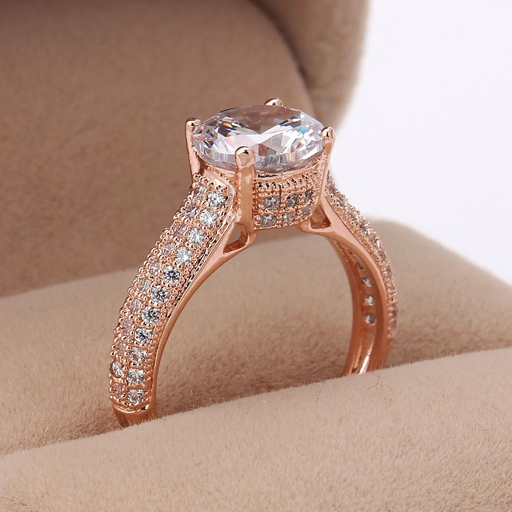 Forever Big Crystal Wedding Rings for Women Rose Gold Color Engagement Jewelry For Men and Women Lover's Xmas Gift R222 R207