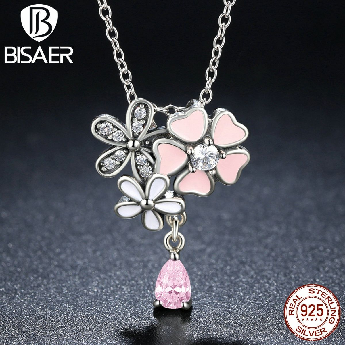 Genuine 925 Sterling Silver Pink Heart Blossom Cherry Flower Pendant Necklaces & Pendants Nyx Women Necklace Fine Jewelry S925
