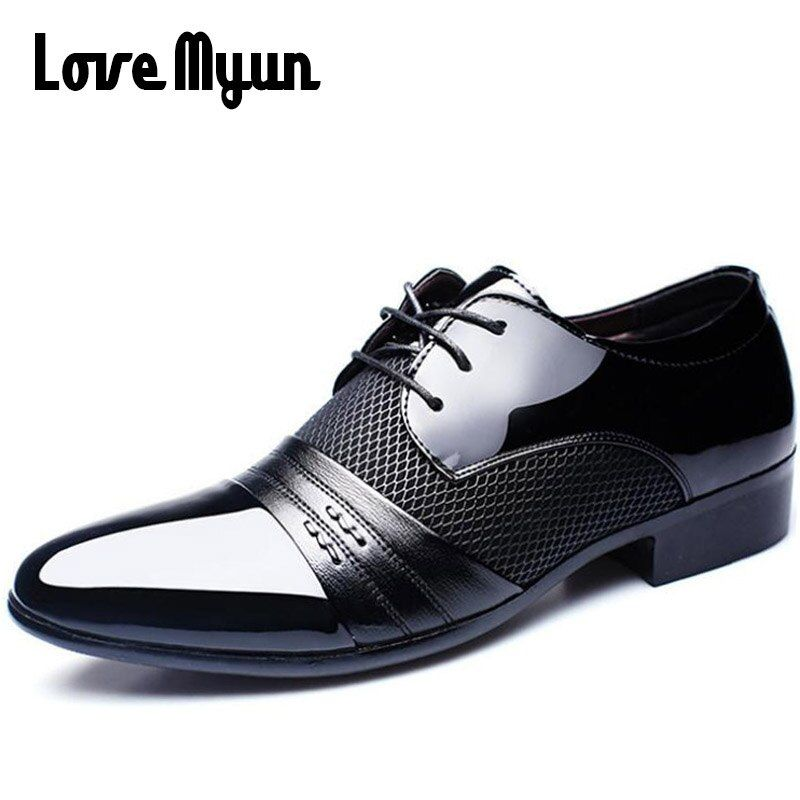 Cheapest Working Office shoes mens patent leather shoes business wedding shoes lace up Pointed toe flat big size 37-47 AB-01