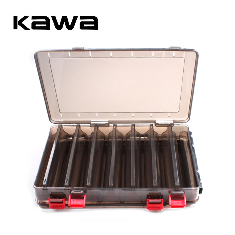 Double Sided 14/10 Compartments,KAWA New Brown Fishing Box,High Strength Transparent Visible Plastic  Box with Drain Hole,