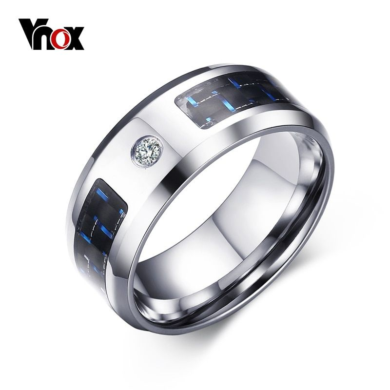Vnox 8mm Finger Ring for Men Male Zincon Rings Blank & Blue Carbon Fiber Band Alliance Jewelry