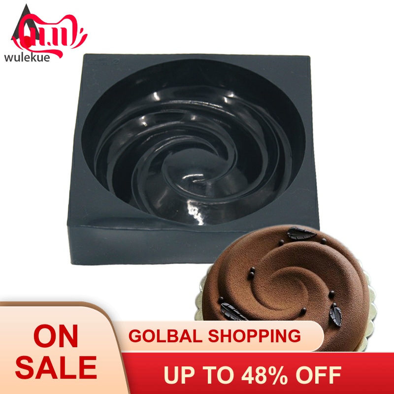 Wulekue 3D Silicone Spiral Mold For Chocolate Brownie Pastry Chiffon Cake Baking Tray Bakeware Decoration Accessories