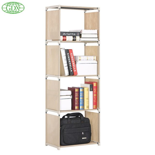 GDX 4 Cubes 5Tier Furniture  DIy Folding Non-woven With PP Coating Storage Bookcase Bookshelf Storage Cabinet