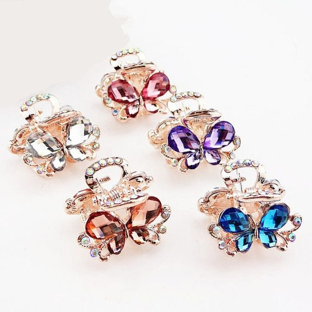 5pcs Hair Ornaments Rhinestone claw clip Headwear Accessories Crystal Metal Hair Claw Clip for women Jewelry Crab claw hair clip