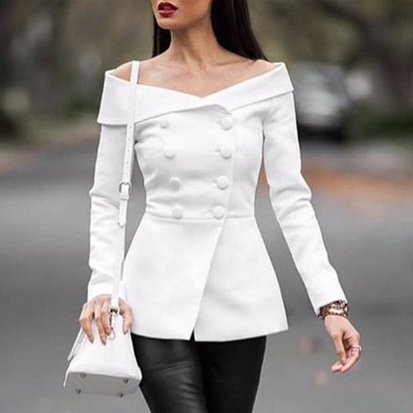 16601 white and black color instock off the shoulder ladies blazer