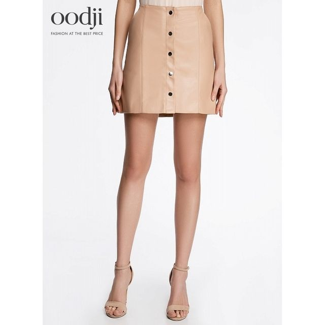 oodji 2017 faux leather Skirt buttons free shipping across Russia 18H0001045059 170 cm oodji 2017 Women Skirt Shipping