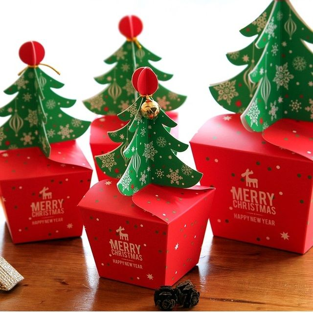 Christmas Tree Design 12pcs Candy Paper Box Gifts Chocolate Cookie Packaging Party Favors Decoration Use New Arrival