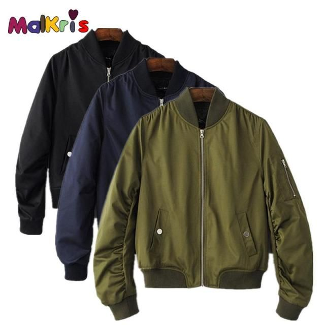 MALKRIS Bomber Jacket Women Army Green Flying Jacket For Men And Women Fashion Joker Thin Lover Flight Jacket Coat