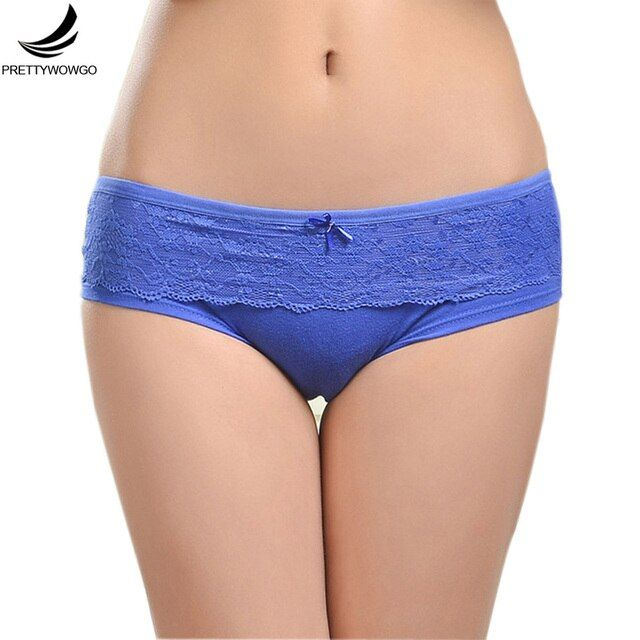 Prettywowgo Ladies Underwear 2019 New Lace Cotton Women's Briefs Panties 6847
